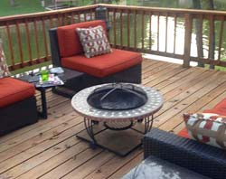 Lakeside deck with fire pit and Deck Protect