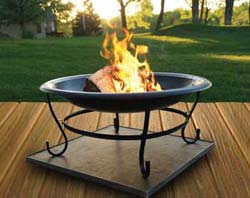 Wood burning fire pit on a deck protector